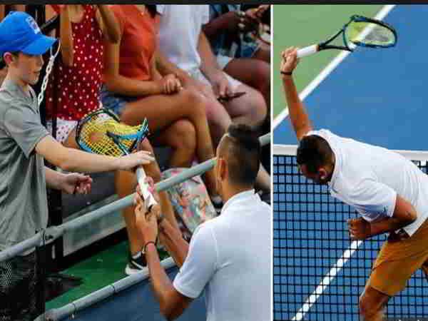 Kyrgios đập nát vợt và từ chối bắt tay với trọng tài dù chiến thắng