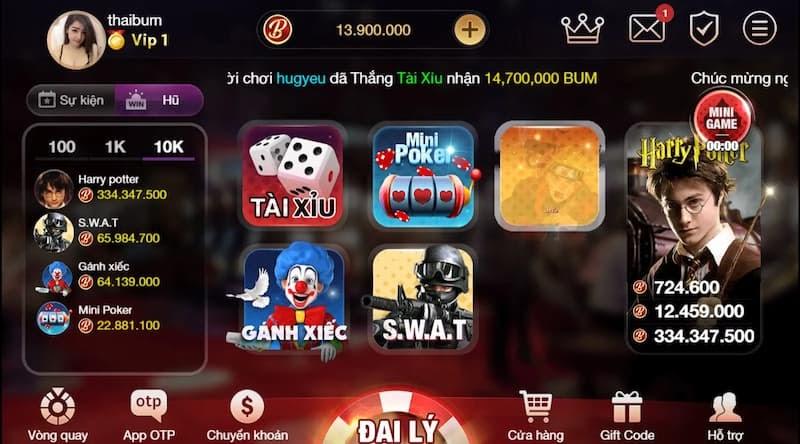 Nhiều trò chơi hấp dẫn của Bum Club